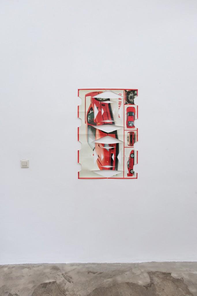 Othmar Farré, Wo warst Du als ich dich brauchte, 2010, Ferrari Poster Scherenschnitt, 90x60cm