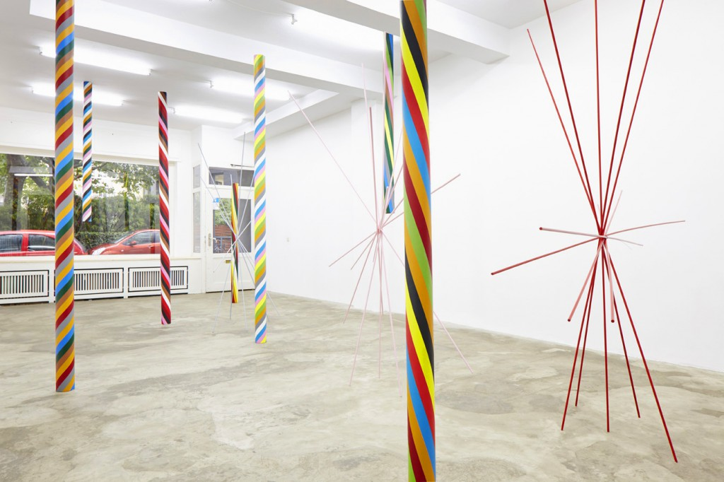 Installation View: tubes, acrylic on canvas, lacquer on wood, various sizes, 2014