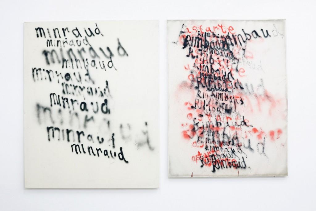 Fabian Herkenhöner, Synthetic Love, 2014, (Rimbaud & Astarte): spray paint on canvas, 145 x 115cm and 135 x 100cm