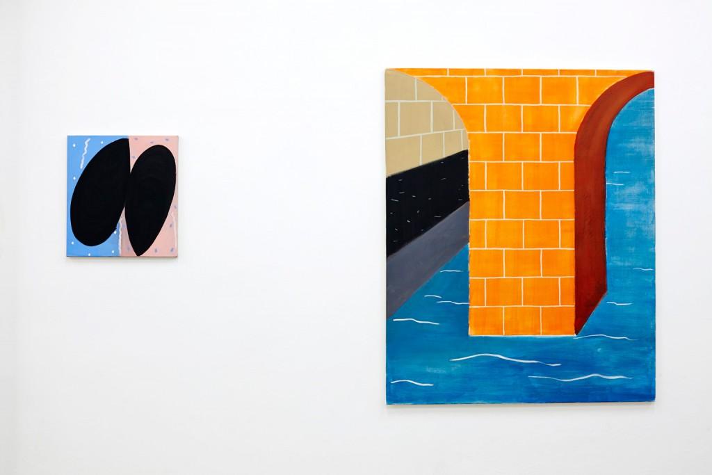 Moule moulée, 2014, Tempera auf Leinwand, 50 x 45 cm; Le Pont, 2013, Tempera auf Leinwand, 135 x 110 cm