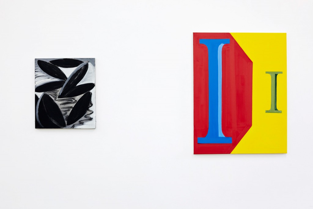 Passion privée, 2012,  Tempera auf Leinwand, 52 x 45 cm; Peinture en Lettres, 2014, Tempera auf Leinwand, 90 x 70 cm