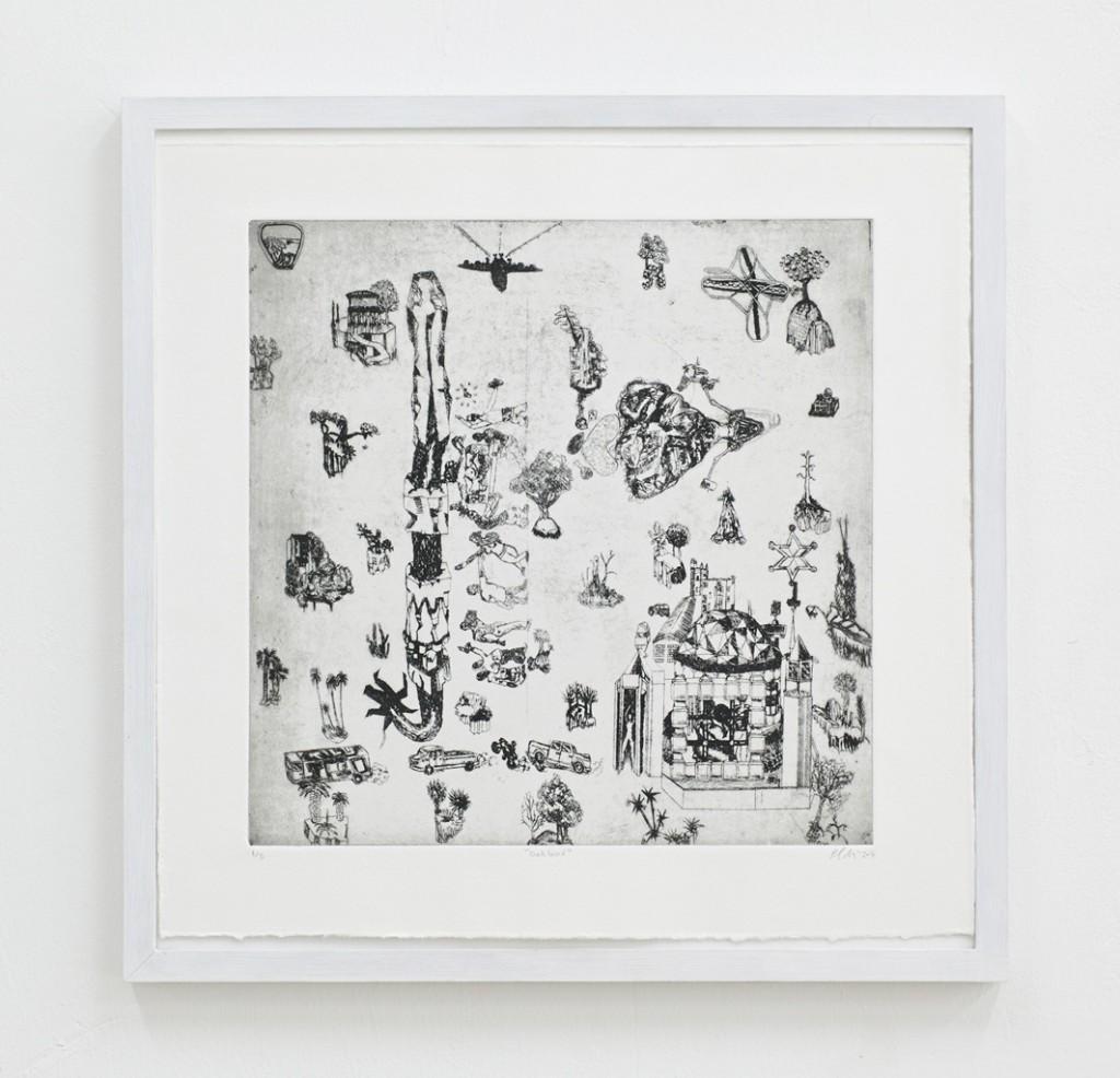 Paul Maciejowski, Oakland, 2014, Kaltnadelradierung, 42 x 42 cm