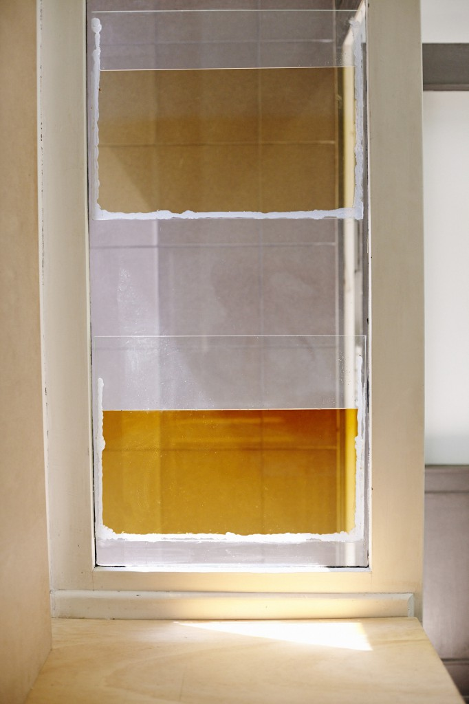 Skye Chamberlain, Krauterlikoerwindow (Kümmerling & Kabaenes), Kümmerling, Kabaenes, glass, silicon, 100 x 50 cm, 2015