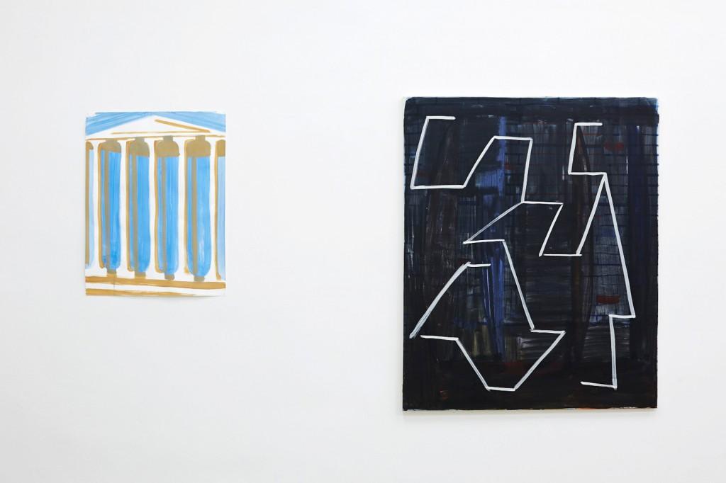 Panthénon, 2014, Tempera auf Papier,  65 x 50 cm; E. E., 2014, Tempera auf Leinwand, 110 x 90 cm
